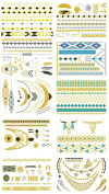 Tato High Gloss Metallic Gold Silver Tattoos Stickers 10 Different Sheets TSGD003