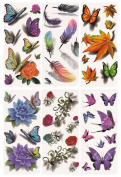 Tato Fashion 3D Body Art Temporary Tattoo Stickers 6 Different Sheets Butterfly