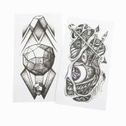 BTArtbox 2 Sheets 3.5*4.6cm Large Evil Eye, Bow,Diamond Patteren WaterProof Temporary Tattoo Printer Paper Body Art Transfer Sticker for Women, Girls