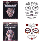 Nymph Code Temporary Face Tattoo Awesome Body Skull Costume Tattoos For Bachelor Party Masquerade Halloween Prom 2 Pack Kit