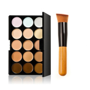HFUN Powder Compact Professional Multifunction Foundation Cream 15 Colours with Brush