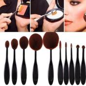 Brush,Baomabao 10PC/Set Eyebrow Foundation Eyeliner Lip Oval Brushes