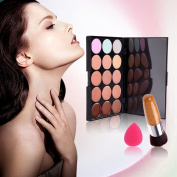 SONGQEE 15 Colours Contour Face Cream Makeup Concealer Palette + Flat Natural Bamboo Buffer Brush+ Makeup Sponge Puff