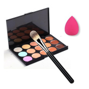 Togirl Pro 15 Colour Party Contour Face Cream Makeup Concealer Palette + Powder Brush + Sponge Puff