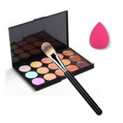 Togirl Pro 15 Colour Party Contour Face Cream Makeup Concealer Palette + Powder Brush + Sponge Puff