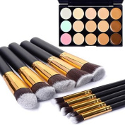 10pcs Gold Tube Black Handle Cosmetic Makeup Brush Set and 15 Colours Concealer