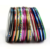 GBSTORE 30 Colour Rolls Striping Tape Line Nail Art Decoration Sticker,Mixed Colours