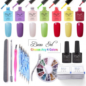 Beau Gel Pick Any 4 Colours UV LED Nail Gel Polish Manicure Varnish Gift Set + Top & Base Coat + Nail Art Tools Combo Suitable for Home Use or Professional Use
