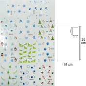 Yao Shun Nail Stickers,Water Transfer Decals Nail Hydroplaning Nail Stickers Christmas Snowflake Tree Size L-Kit001