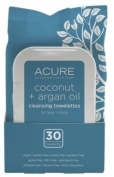 Acure Cleansing Towelettes Coconut + Argan Oil for Face & Body 30 Towelettes Pack of 2