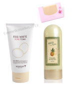BUNDLE - Skinfood Egg White Pore Foam 150ml + SKINFOOD Pineapple Morning Peeling Gel 100ml + SoltreeBundle Natural Hemp Paper 50pcs