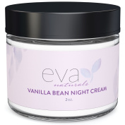 Vanilla Bean Night Cream by Eva Naturals (60ml) - Best Anti-Ageing Night Cream Boosts Collagen and Hydrates Complexion - Helps Protect against Damage and Nourish Skin - With Vitamin E and Green Tea