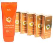 [EKEL] Aloe & Vitamin E Sun Block Cream SPF50 PA+++ 70ml X 5EA / UV Protection / Makeup Base effect / Waterproof / Korean Cosmetics