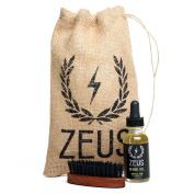 Zeus Beard Oil Kit for Men - Natural Beard Conditioner Softener Kit with 100% Boar Bristle Beard Brush (Scent