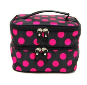 GBSTORE Womens Fashion Wave Dot Case Makeup Double Cosmetic Hand Bag