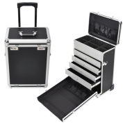 AMPERSAND SHOPS Pro Makeup Rolling Cosmetic and Jewellery Train Case with Drawers