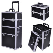 AMPERSAND SHOPS Stackable and Interchangeable Pro Makeup Rolling Cosmetic Train Case