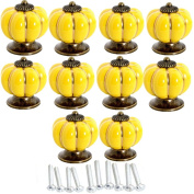 Lsgoodcare 10PCS 40MM Yellow Baby Kid's Children's Furniture Drawer Handles Decorative Pumpkin Ceramic Door Cabinet Drawer Knobs Pull Handles Creative Cupboard Handle Pull Knobs with Screw