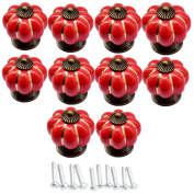 Lsgoodcare 10PCS 40MM Red Baby Kid's Children's Furniture Drawer Handles Decorative Pumpkin Ceramic Door Cabinet Drawer Knobs Pull Handles Creative Cupboard Handle Pull Knobs with Screw