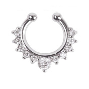 Fashion Fake Septum Clicker Crystal Nose Ring Non Piercing Hanger Clip On Jewellery (Clear crystal