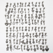 Bingcute 50pcs Mixed Type Antique Silver Large Hole Bead Charms Pendant DIY for Pandora Beads bracelet jewellery making