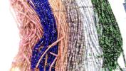 6strands 3x4mm Assorted gemstone crystal lapis sunstone labaradorite aquamarine beryl ruby beads rondelle abacus faceted necklace loose beads