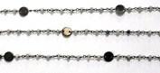 0.9m Faceted White Agate With Brusshed Coin Black Wire Wrapped Beaded Chain 3-3.5 mm, White Agate Wire Wrapped Rosary Chain