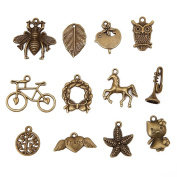 Bingcute 100pcs Mixed type Antique Bronze Charms Alloy Pendant DIY for bracelet necklace jewellery making