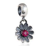 Choruslove African Daisy Flower with Crystal Charm 925 Sterling Silver Dangle Bead for European Style Bracelet or Necklace