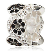 Choruslove Daisy Bouquet Flower Charm with Austrian Crystal 925 Sterling Silver Bead for Snake Chain Bracelet