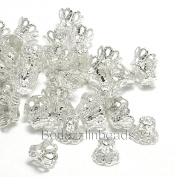 100 Silver Plated Filigree Basket Accent Bead End Caps for 7mm-9mm Beads