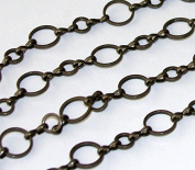 3m of Antique Brass circle links chain 6mm-10mm