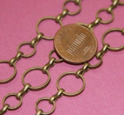 3m of Antique Brass circle links chain 8mm-12mm