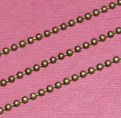 3m of DIY Bulk Antique Brass 2.4mm smooth ball chain