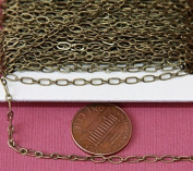 9.8m spool of Antique Brass Long and Short Chain 4X2mm - Soldered Links