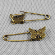 5 PCS Jewellery Making Charms Findings Supply Supplies Crafting Lots Bulk Wholesale Antique Bronze Tone Plated 13907 Butterfly Safety Pins Brooch