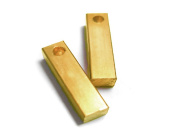 NinjaCrafters - Ten (10) Solid Brass 3d Bars 0.6cm x 0.6cm x 3.2cm , Pre-Drilled Hole, FINISHED Blanks for Hand Stamping