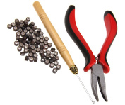 New Hair Extension Kit 100pc Micro Silicones Beads Metal Pliers and Pull Hook