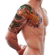 4 Sheets Temporary Tattoo Colour dragon over shoulder tattoo stickers spot three-dimensional totem personality beauty edition tattoo stickers