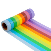 Outee Decorative Washi Masking Tape Set of 10, Rainbow Sticky Paper for DIY Crafts, 15mm x 10m