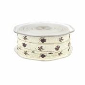 Brown Seashells Print Cotton Twill Ribbon, 1cm , 25 Yards