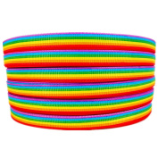 50 Yard Rainbow Stripes Printed 1cm White Solid Grosgrain Ribbon