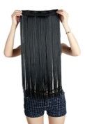 60cm Dark Black Clip In Women One Piece Full Head Hairpiece Synthetic Straight/Curly Hair Extensions Hair Wig 5Clip 140G