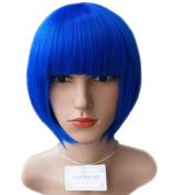 Sale! New AnotherMe Elegant Royal Blue Short Bob Wig 29cm Heat Resistant Neat bangs Party