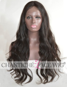Chantiche Silk Top Deep Invisible Middle Parting Remy Human Hair Lace Front Wig Realistic Looking Natural Wave Long Brazilian Full Wigs For Black Women 60cm #1B