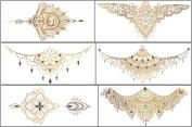 6 Sheets Premium Metallic Tattoos Body Temporary Breast Back Waterproof Multicolor Tattoos - Temporary Fake Jewellery Tattoos - Rose Butterfly Skull Heart Wing Flower Star Body Tattoos