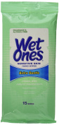Wet Ones Extra Gentle Sensitive Skin, Hand and Face Wipes, 15 ct