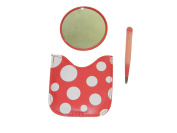 Colourful Polka-dot Tweezer and Mirror Set with Carrying Case