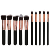 BeautyKate Professional 10pcs Premium Synthetic Kabuki Makeup Brush Set Foundation Blending Cosmetic Brushes Essential Kit