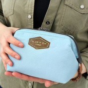 SPRINGWIND Toiletry Travel Make Up Cosmetic bag pouch Clutch Handbag Purses Light Blue